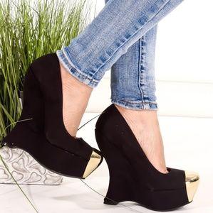 Shoes - 🆕️Black High Polish Toe Wedges Faux Suede